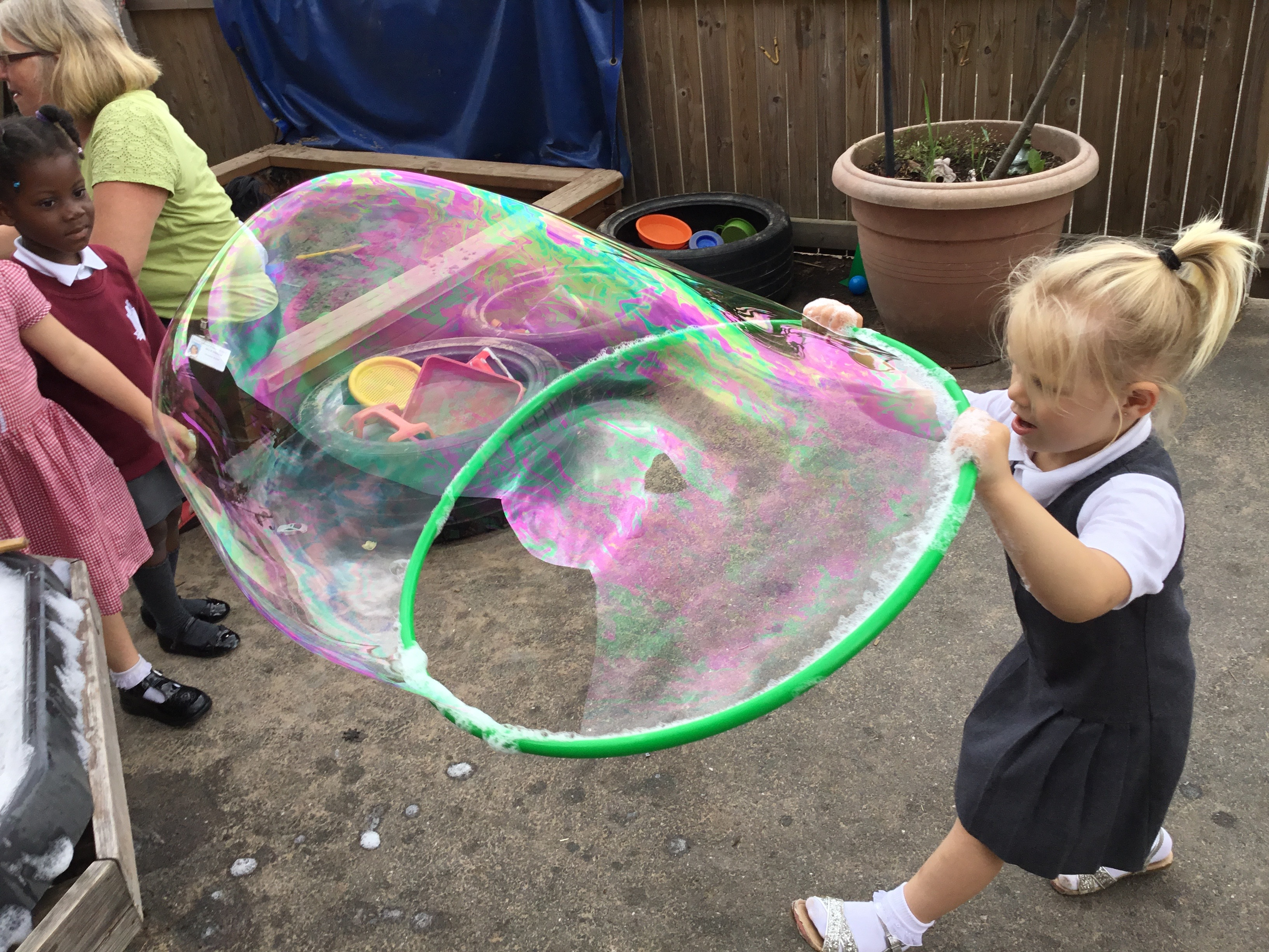 Giant Bubbles, bearded dragons, fire and paddling pools